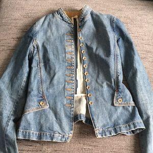 Joie Military Denim Jean jacket Peplum ruffle Back
